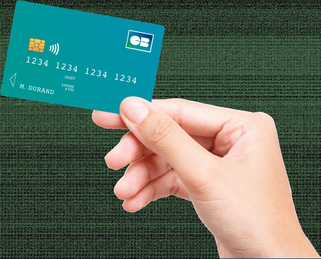Main tenant une carte bancaire