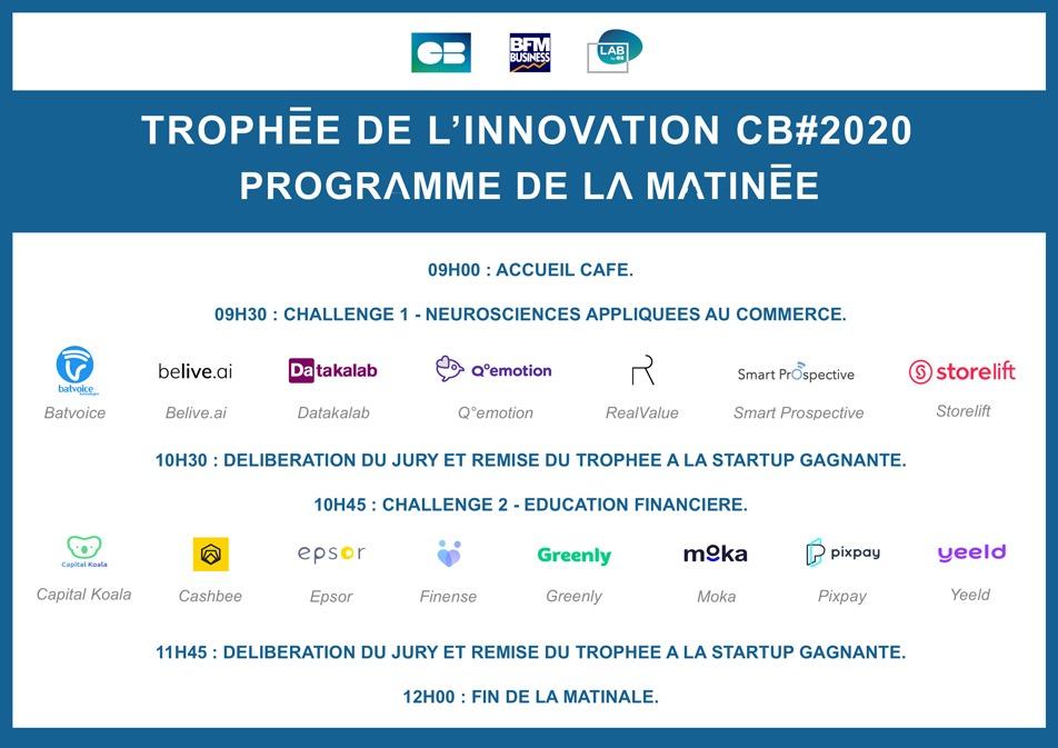 Trophée de l'innovation CB#2020 - programme de la matinée