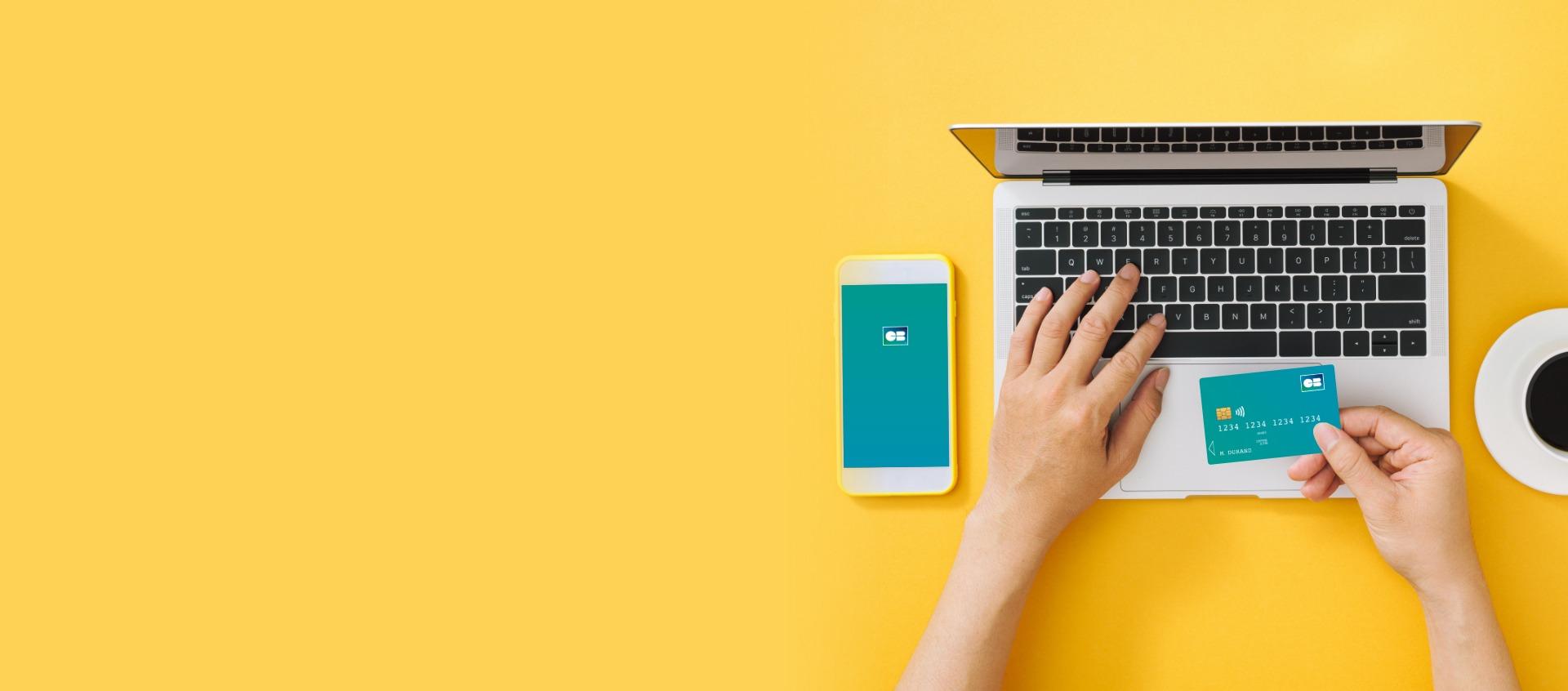 Payer en ligne avec ordinateur et mobile