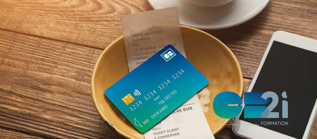 carte bancaire CB, télépone mobile, ticket paiement café, logo CB2i